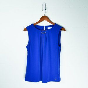 Calvin Klein Blue Blouse with Gold Chain - Medium
